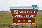 The Carrizo Plain National Monument sign on Soda Lake Road, Carrizo Plain National Monument, California