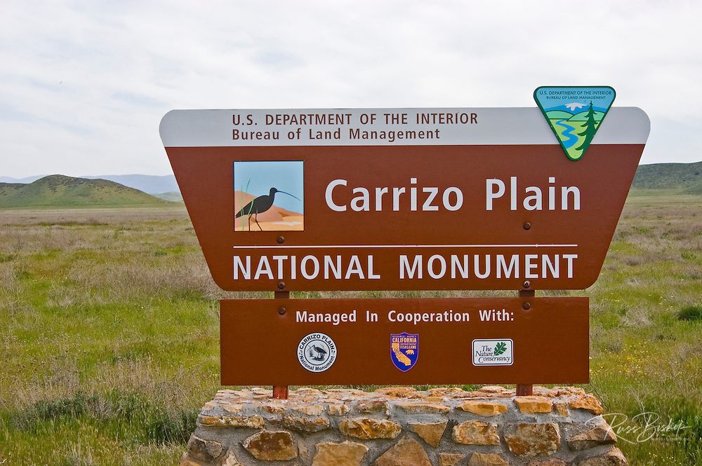 The Carrizo Plain National Monument sign on Soda Lake Road, Carrizo Plain National Monument, California