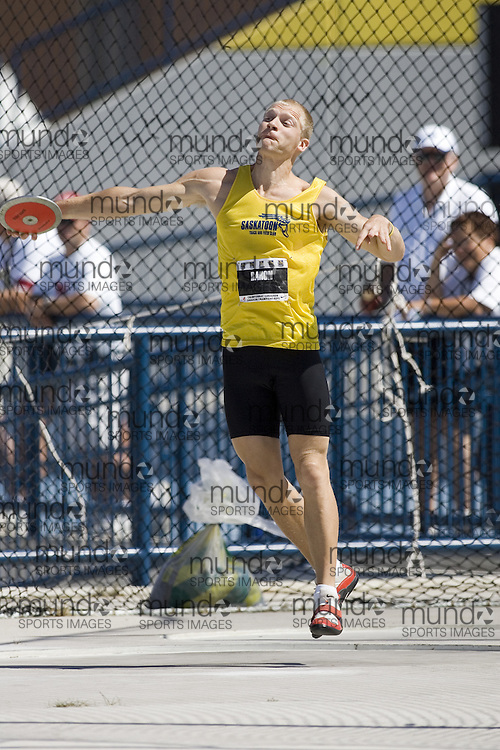 13 July 2007 (Windsor--Canada) -- The 2007 Canadian National Track and Field Championships... Marc Baron competing in the decathlon discus.