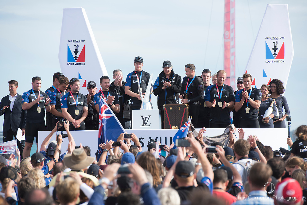 Americas's Cup Village, Bermuda 12th June 2017. Emirates Team New Zealand on stage to receive the Louis Vuitton Challenger Trophy give a clap for their oponent in the Louis Vuitton America's Cup Challenger series finals, Artemis Racing (SWE).