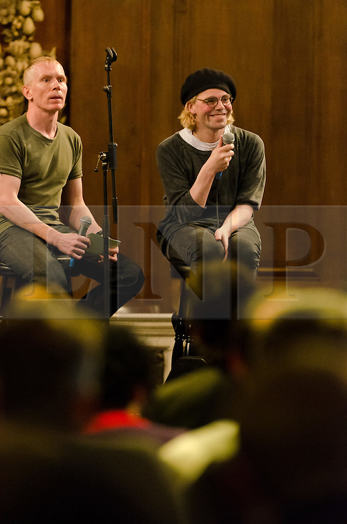 """© Licensed to London News Pictures. 25/04/2012. London, UK. Tim Burgess, British Indie-rock legend from """"The Charlatans"""", launches his revealing memoir """"Telling Stories"""" this week.  In it he describes how he dealt with his crises, and whats gone right with the band as much as whats gone wrong.  At St James Church this evening Tim read excerpts from the book, held a Q&A with the audience, and played acoustic versions of classic The Charlatans songs.  The Charlatans will be touring the Tellin Stories album this summer at the HMV Hammersmith Apollo, Glasgow and Manchester.  Photo credit : Richard Isaac/LNP"""