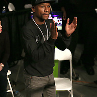 Floyd Mayweather congratulates fighter Derek Edwards during Showtime Televisions ShoBox:The Next Generation boxing match at the Event Center at Turning Stone Resort Casino on Friday, February 28, 2014 in Verona, New York.  (AP Photo/Alex Menendez)