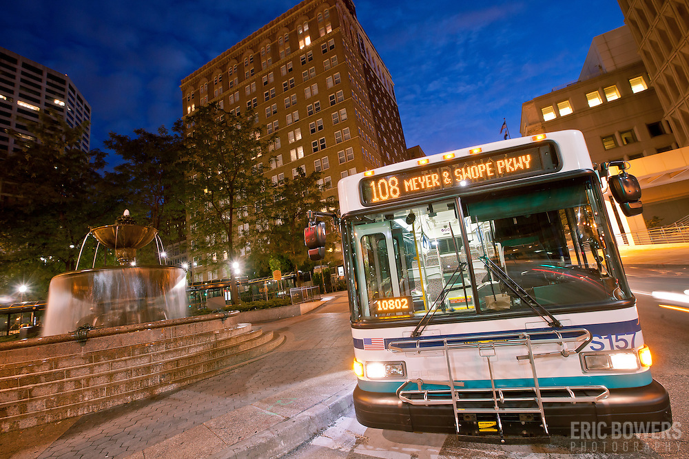 Bus at 10th and Main Transit Center, downtown Kansas City, Missouri.