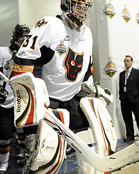 Martin Jones of the Calgary Hitmen in Game 2 of the 2010 MasterCard Memorial Cup in Brandon, MB on Saturday May 15, 2010. Photo by Aaron Bell/CHL Images