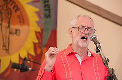© Licensed to London News Pictures. 21/07/2019; Tolpuddle, Dorset, UK. JEREMY CORBYN, leader of the Labour Party speaks from the main stage at the Tolpuddle Martyrs Festival. The Tolpuddle Martyrs Festival for trade unionism, held every year, commemorates the birth of the trade union movement in the 19th century when the Tolpuddle Martyrs were transported to Australia for forming a trade union of agricultural labourers in Dorset. Photo credit: Simon Chapman/LNP.