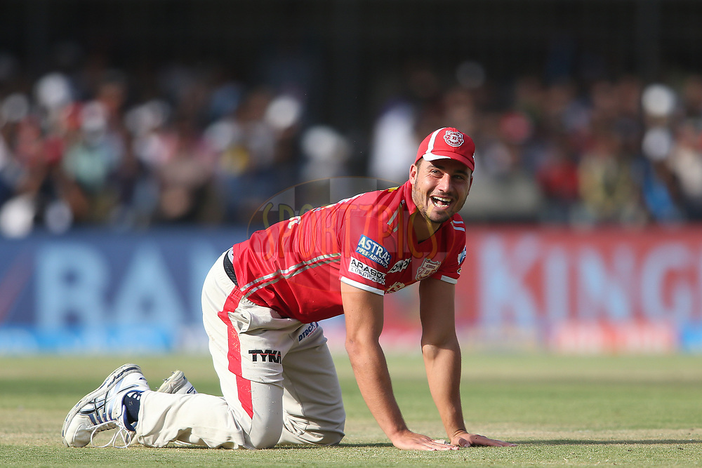 Marcus Stoinis of Kings XI Punjab has a laugh after a miss field during match 4 of the Vivo 2017 Indian Premier League between the Kings XI Punjab and the Rising Pune Supergiant held at the Holkar Cricket Stadium in Indore, India on the 8th April 2017<br /> <br /> Photo by Shaun Roy - IPL - Sportzpics