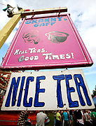 Tea stall, Lovebox Weekender Festival<br /> Victoria Park, London 2007.
