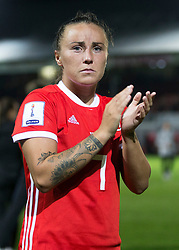 NEWPORT, WALES - Thursday, August 30, 2018: Wales' Natasha Harding looks emotional after the FIFA Women's World Cup 2019 Qualifying Round Group 1 match between Wales and England at Rodney Parade. (Pic by Laura Malkin/Propaganda)