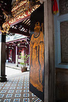 The doors of the Thean Hock Keng Temple in Singapore have beautifully painted gods and deities on its doors.