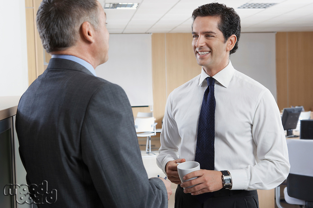 Two business men talking in office