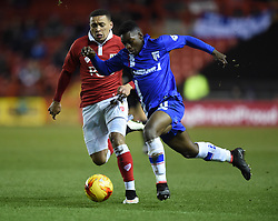 Bristol City's James Tavernier closes in on Gillingham's Jermaine McGlashan in the Johnstone's Paint Trophy south area final second leg match between Bristol City and Gillingham at Ashton Gate on 29 January 2015 in Bristol, England - Photo mandatory by-line: Paul Knight/JMP - Mobile: 07966 386802 - 29/01/2015 - SPORT - Football - Bristol - Ashton Gate Stadium - Bristol City v Gillingham - Johnstone's Paint Trophy