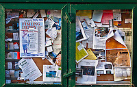 outdoor bulletin board at the Seabeck General Store on the waterfront at Seabeck, WA on Seabeck Bay of Puget Sound.
