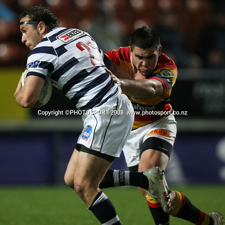 Auckland's Jamie Helleur is tackled by Dwayne Sweeney. Air NZ Cup, Waikato v Auckland, Waikato Stadium, Hamilton, Saturday 30 August 2008. Waikato won 34-13. Photo: Stephen Barker/PHOTOSPORT