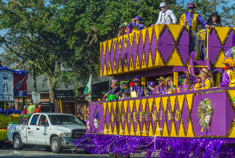 The Jokers Wild float travels down Washington Street in downtown Mobile, Ala., during the Joe Cain Procession at Mardi Gras, March 2, 2014. French settlers held the first Mardi Gras in 1703, making Mobile's celebration the oldest Mardi Gras in the United States. (Photo by Carmen K. Sisson/Cloudybright)
