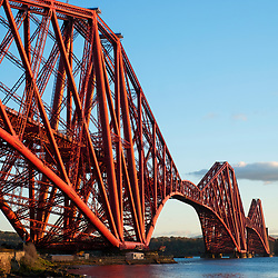 View of famous Forth Rail Bridge spanning the Firth of Forth between Fife and West Lothian in Scotland, United Kingdom.