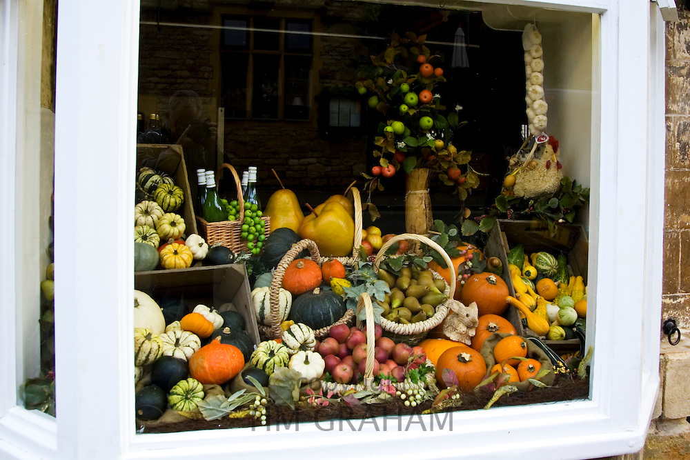 Greengrocery window display, Chipping Campden, Gloucestershire, United Kingdom