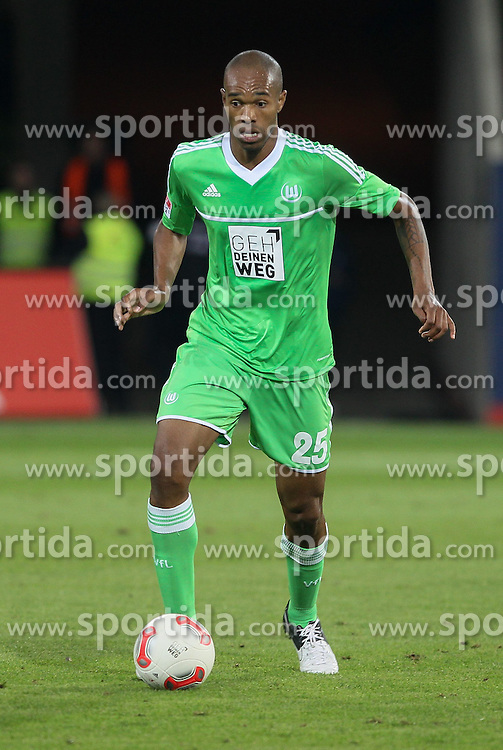 "14.09.2012, SGL Arena, Augsburg, GER, 1. FBL, FC Augsburg vs VfL Wolfsburg, 03. Runde, im Bild NALDO (VfL Wolfsburg), spielt den Ball, Freisteller, Einzelaktion, Aktion, ""Geh Deinen Weg"", Aktionsmotto auf den Trikots, gemeinsame Initiative zur Integration am 3. Spieltag der Fussball-Bundesliga;, . // during the German Bundesliga 03rd round match between FC Augsburg and VfL Wolfsburg at the SGL Arena, Augsburg, Germany on 2012/09/14. EXPA Pictures © 2012, PhotoCredit: EXPA/ Eibner/ Klaus Rainer Krieger..***** ATTENTION - OUT OF GER *****"