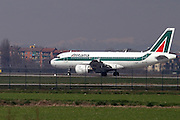 Italy, Milan, Linate Airport, Alitalia passenger jet at takeoff