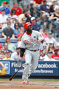 ATLANTA, GA - APRIL 9: Ryan Howard #6 of the Philadelphia Phillies bats against the Atlanta Braves at Turner Field on April 9, 2011 in Atlanta, Georgia. The Phillies won 10-2. (Photo by Joe Robbins) *** Local Caption *** Ryan Howard