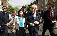 Boris Johnson and his wife Marina outside a Polling Station in Islington, North London to vote.