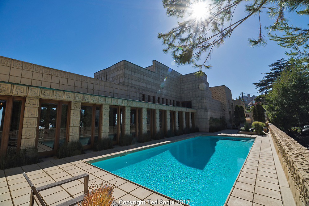 The Ennis House designed by Frank Lloyd Wright.<br /> Pool.
