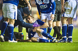 BIRMINGHAM, ENGLAND - Sunday, November 1, 2009: Birmingham City's Roger Johnson is treated for an injury during the Premiership match against Manchester City at St Andrews. (Pic by David Rawcliffe/Propaganda)