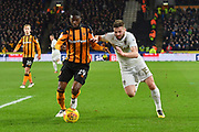 Hull City defender Fikayo Tomori (29) and Leeds United midfielder Stuart Dallas (15) during the EFL Sky Bet Championship match between Hull City and Leeds United at the KCOM Stadium, Kingston upon Hull, England on 30 January 2018. Photo by Ian Lyall.