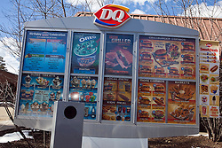 Dairy Queen DQ menu at drive thru, Truckee, California, United States of America