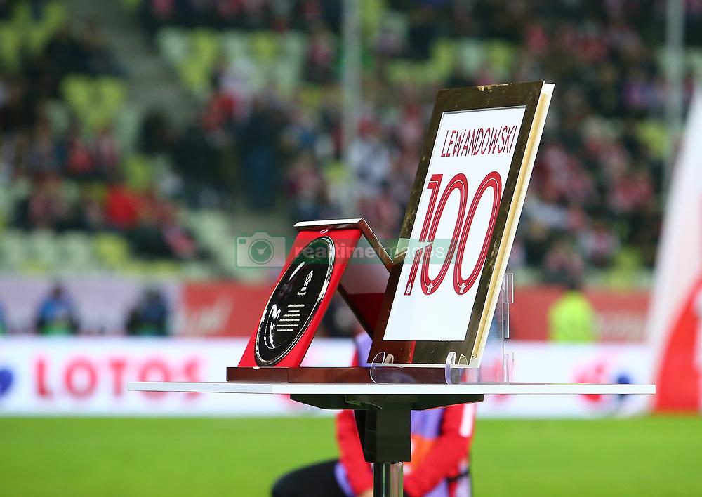 November 15, 2018 - Gdansk, Pomorze, Poland - An award for 100th game for Poland by Robert Lewandowski is seen during International Friendly match between Poland and Czech Republic on November 15, 2018 in Gdansk, Poland. (Credit Image: © Mateusz Wlodarczyk/NurPhoto via ZUMA Press)