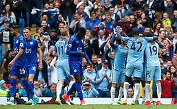 Gabriel Jesus of Manchester City celebrates after scoring his sides second goal  - Mandatory by-line: Matt McNulty/JMP - 13/05/2017 - FOOTBALL - Etihad Stadium - Manchester, England - Manchester City v Leicester City - Premier League