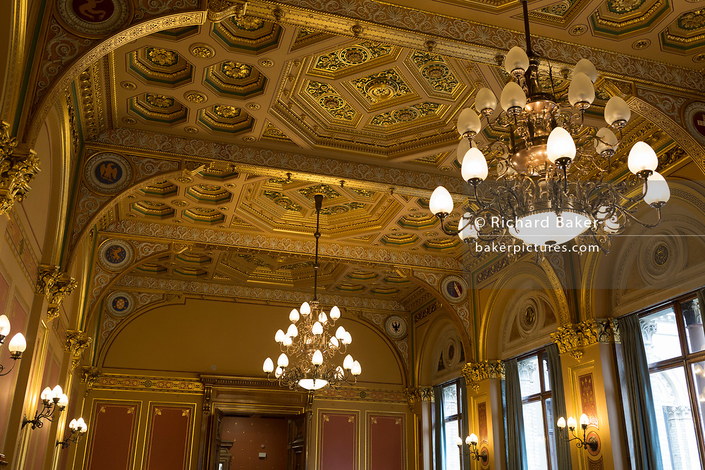 Interior architecture of the Locarno Room in the Foreign and Commonwealth Office (FCO), on 17th September 2017, in Whitehall, London, England. In 1925 the Foreign Office played host to the signing of the Locarno Treaties, aimed at reducing tension in Europe. The ceremony took place in a suite of rooms that had been designed for banqueting, which subsequently became known as the Locarno Suite. During the Second World War, the Locarno Suite's fine furnishings were removed or covered up, and it became home to a foreign office code-breaking department.