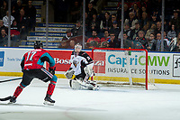 KELOWNA, CANADA - MARCH 16: David Tendeck #30 of the Vancouver Giants defends the net during overtime against the Kelowna Rockets  on March 16, 2019 at Prospera Place in Kelowna, British Columbia, Canada.  (Photo by Marissa Baecker/Shoot the Breeze)