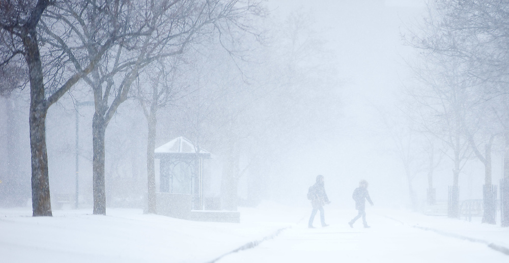 London, Ontario ---12-01-02--- People cross a snow covered path at the University of Western Ontario in London, Ontario, during the height of a snow squall, January 2, 2012 . London was under a snow squall warning for much of Monday with up to 40cm predicted by the end of storm.<br /> GEOFF ROBINS The Globe and Mail