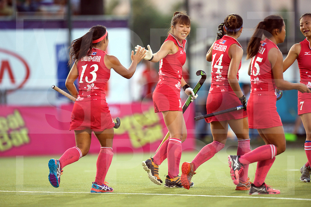 SANTIAGO - 2016 8th Women's Hockey Junior World Cup<br /> 32 JPN v CHI (9 / 12 Place)<br /> foto: Gil Pilar Zapico scores 3-0<br /> FFU PRESS AGENCY COPYRIGHT FRANK UIJLENBROEK