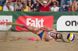 04.07.2013, Lake Szelag, Stare Jablonki, POL, FIVB Beach Volleyball Weltmeisterschaft, im Bild Abwehr Karla Borger (#1 GER), // during the FIVB Beach Volleyball World Championships at the Lake Szelag, Stare Jablonki, Poland on 2013/07/04. EXPA Pictures © 2013, PhotoCredit: EXPA/ Eibner/ Kurth ***** ATTENTION - OUT OF GER *****