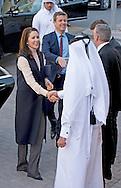 2-3- 2016  DOHA QATAR - Crownprincess Mary and Crownprince Frederik Visit to Maersk Oil Headquarters .Crownprincess Mary and Crownprince Frederik during a 2 day business visit to Qatar . COPYRIGHT ROBIN UTRECHT Kroonprinses Mary en kroonprins Fredrik uit denemarken tijdens een twee daags handelsmissie bezoek aan qatar