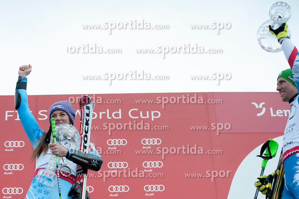 17.03.2013, Pista Silvano Beltrametti, SUI, FIS Weltcup Ski Alpin, Lenzerheide, Geswamtweltcup, im Bild Die beiden Gesamtweltcupsieger Tina Maze (SLO) und Marcel Hirscher (AUT) // during Overall Podium of FIS Ski Alpine World Cup at the Pista Silvano Beltrametti, Lenzerheide, Switzerland on 2013/03/17. EXPA Pictures © 2013, PhotoCredit: EXPA/ Freshfocus/ Valeriano Di Domenico..***** ATTENTION - for AUT, SLO, CRO, SRB, BIH only *****