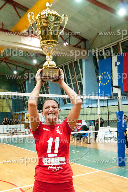 Aleksandra Milosavljevic of Nova KBM Branik Maribor with trophy during volleyball match between Nova KBM Branik Maribor and Calcit Kamnik in final game of Slovenia Volleyball Cup, on Januar 4, 2012 at Sportna Dvorana, Kamnik, Slovenia. Nova KBM Branik Maribor won 3:2. (Photo By Matic Klansek Velej / Sportida)