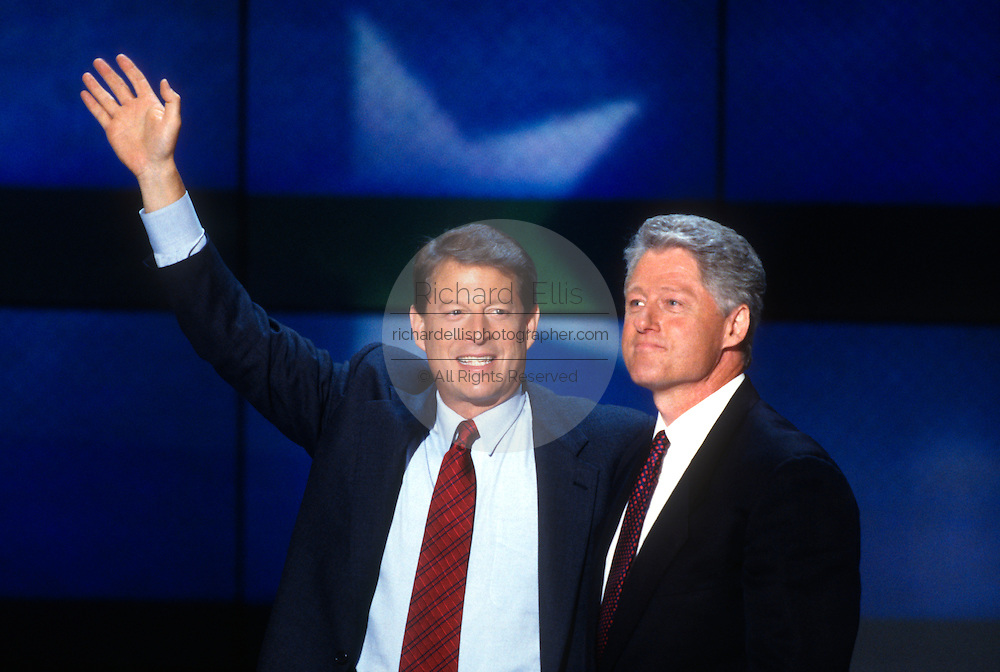 U.S President Bill Clinton and Vice President Al Gore wave to supporters after accepting the nomination for the democrat party at the 1996 Democratic National Convention August 29, 1996 in Chicago, IL.