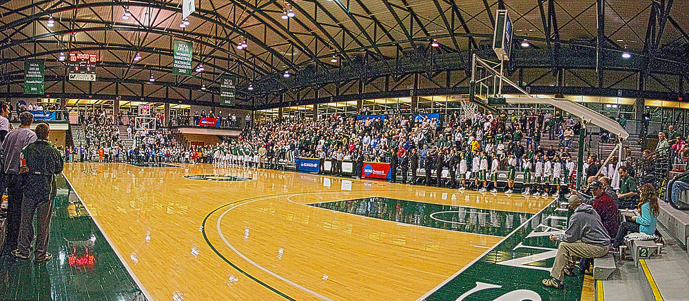 08 March 2014:  Panoramic HDR image of Shirk Center just before the National Anthem during an NCAA mens division 3 2nd Round Playoff basketball game between the St Norbert Green Knights and the Illinois Wesleyan Titans in Shirk Center, Bloomington IL<br /> <br /> This image was produced using stitching and or High Dynamic Resolution processing.  It may not be appropriate for editorial usage.