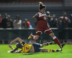 Bristol Academy's Laura Del Rio avoids a challenge from Arsenal Ladies' Leah Williamson - Photo mandatory by-line: Dougie Allward/JMP - Mobile: 07966 386802 - 20/09/2014 - SPORT - FOOTBALL - Bristol - SGS Wise Campus - BAWFC v Arsenal Ladies - FA Womens Super League