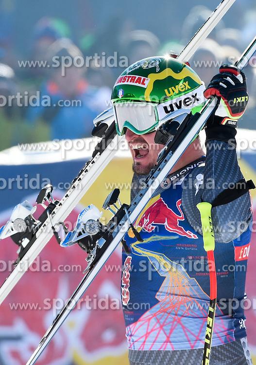 21.01.2017, Hahnenkamm, Kitzbühel, AUT, FIS Weltcup Ski Alpin, Kitzbuehel, Abfahrt, Herren, im Bild Sieger Dominik Paris (ITA) // Winner Dominik Paris of Italy celebrates after his run of men's downhill of FIS Ski Alpine World Cup at the Hahnenkamm in Kitzbühel, Austria on 2017/01/21. EXPA Pictures © 2017, PhotoCredit: EXPA/ Erich Spiess
