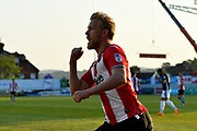 Goal - Jayden Stockley (11) of Exeter City celebrates scoring a goal to give a 1-0 lead to the home team during the EFL Sky Bet League 2 match between Exeter City and Lincoln City at St James' Park, Exeter, England on 17 May 2018. Picture by Graham Hunt.