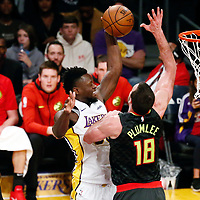 07 January 2018: Los Angeles Lakers forward Julius Randle (30) goes for the dunk over Atlanta Hawks center Miles Plumlee (18) during the LA Lakers 132-113 victory over the Atlanta Hawks, at the Staples Center, Los Angeles, California, USA.