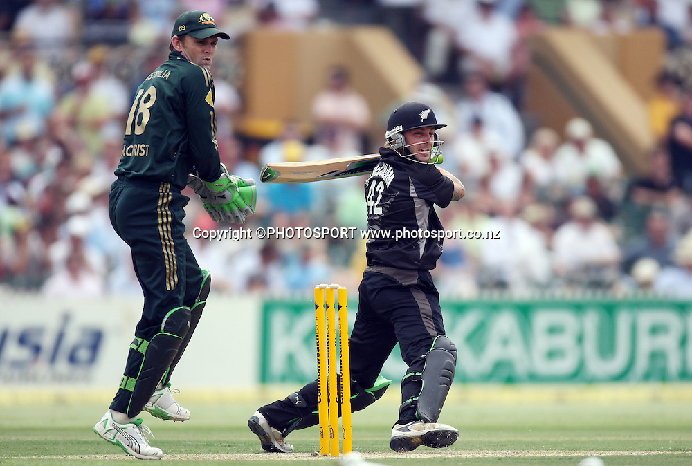 New Zealand batsman Brendon McCullum who scored 96. <br />