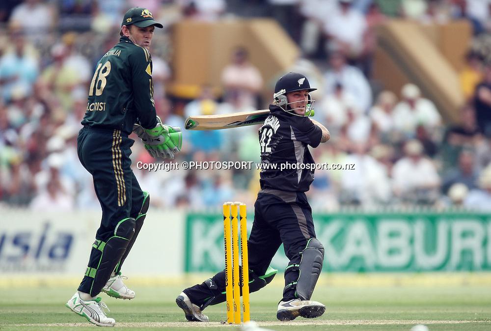 New Zealand batsman Brendon McCullum who scored 96. <br />Chappell Hadlee Trophy, Match 1 of 07/08 season. Adelaide Oval, Adelaide, Australia. Friday 14 December 2007. Photo: Andrew Cornaga/PHOTOSPORT