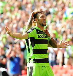 Christian Doidge of Forest Green Rovers celebrates his goal  - Mandatory by-line: Nizaam Jones/JMP - 14/05/2017 - FOOTBALL - Wembley Stadium- London, England - Forest Green Rovers v Tranmere Rovers - Vanarama National League Final