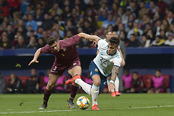 March 22, 2019 - Madrid, Madrid, Spain - Lautaro of Argentina fight the ball with Osorio of Venezuela during the Friendly football match between Argentina and Venezuela at Wanda Metropolitano Stadium in 22 March 2019, Madrid, Spain, preparatory for the Copa América Brazil 2019 to be played from June 14 to July 7. (Credit Image: © Patricio Realpe/NurPhoto via ZUMA Press)