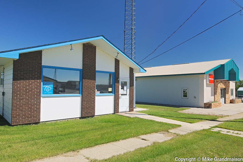 Saint Leon local businesses: Caisse Populaire and COOP, Saint Leon, Manitoba, Canada