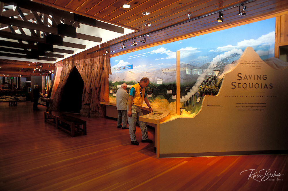 Visitors viewing displays in the Giant Forest Museum, Sequoia National Park, California